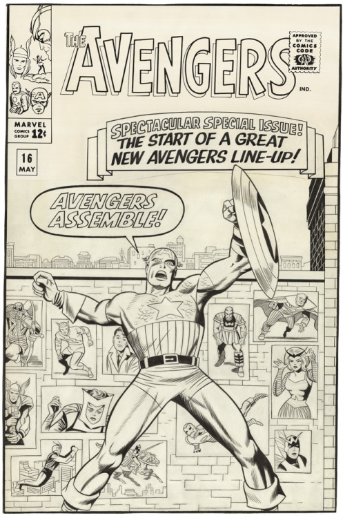 Avengers Assemble! Check out the original art for the cover of Avengers #16, with pencils by Jack and inks by Sol Brodsky! This issue not only sports a terrific, iconic cover showcasing Captain America, it also marks the occasion when Hawkeye joined the team!  Folks, thanks so much for getting us to 100 followers here on tumblr. Please indulge me for another moment here, and then I'll get back to posting cool Jack-related stuff from around the 'net.  Avengers is on track for the highest-grossing domestic opening of all-time. It's likely that before this weekend is finished, the worldwide box-office take will be in the $500 million range. Maybe more. This Forbes article breaks it down pretty well.  This is, to say the least, pretty incredible. Half a billion dollars in twelve days for a movie featuring characters co-created by Jack Kirby is mind-boggling. Please, if you're reading this, and if you've seen the movie (and, let's face it, this movie is tons of fun), keep spreading the word about the creators behind these stories. Let other folks know that these characters are more than just corporate trademarks, but were created by real artists and writers, many of whom got raw deals in the early days of the industry. Blog and reblog, tweet and retweet, and don't let the contributions of guys like Jack get lost in all the noise! Donations have continued to roll in for our campaign to open a gallery dedicated to Jack Kirby's work in New York City. We're not there yet. Every little bit helps. If you're gonna see Avengers again, kindly consider making a donation, either to our campaign, or to other non-profits dedicated to helping comic creators, such as Hero Initiative. Thanks for all the love and support. We'll make an announcement regarding our fundraising progress in the next few days.