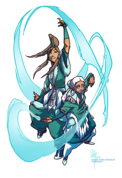 ming85:  Master Katara and Avatar Korra giving an official waterbending demonstration.  (man how I've missed drawing waterbending!) Bigger size on deviantart.