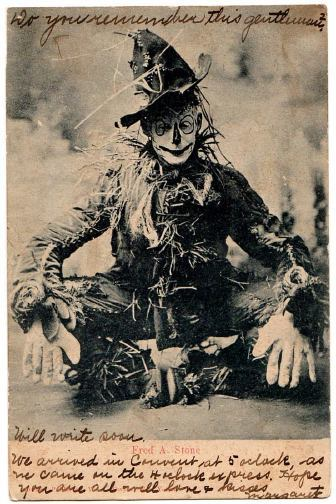 "Scarecrow Postcard""…a souvenir postcard of Fred Stone as the Scarecrow in the 1903 Broadway production of The Wizard of Oz. """