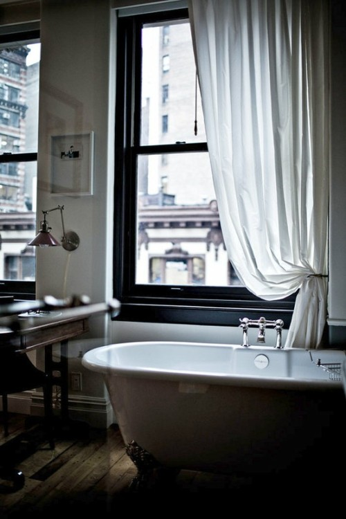elegant bathroom with drapery