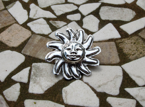 Silver sun pendant with happy face - now for sale on Etsy http://www.etsy.com/listing/99213486/silver-sun-pendant-with-happy-face