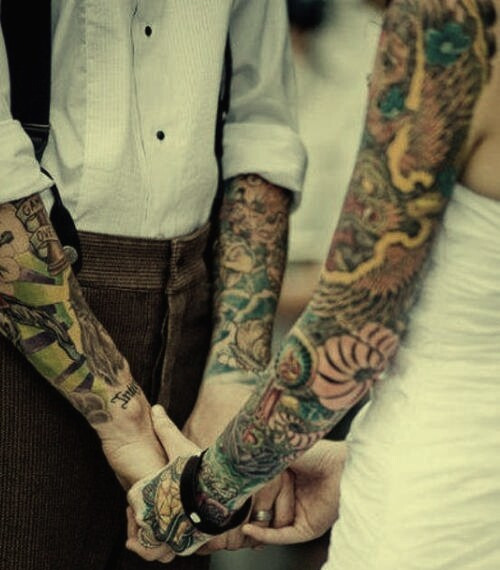 when (if) i get married, i want to be a tattooed couple like this. ^_^