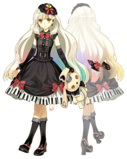 thessui:  myvocaloid:   This is MAYU, a new Yandere Vocaloid being developed by Exit Tunes, if I read right. We have not much besides a little info about her design. Her hat has a vinyl disk attached. Her earrings are styled like Bluetooth headsets. The hair fades from blonde to rainbow. The buttons on her dress are amplifier buttons/knobs. The bottom of her dress is a keyboard. The rabbit she holds has a microphone on its head. She's holding an axe. Her shoes have neon lighting. [ Source ]   I love how the background image of her is faded a bit to give emphasis to the axe. she's very pretty ;u; hopefully her voice is impressive