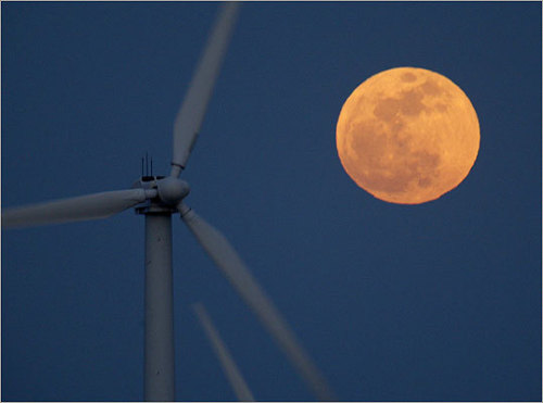 climateadaptation:  Supermoon and wind turbines near Palm Springs, California.