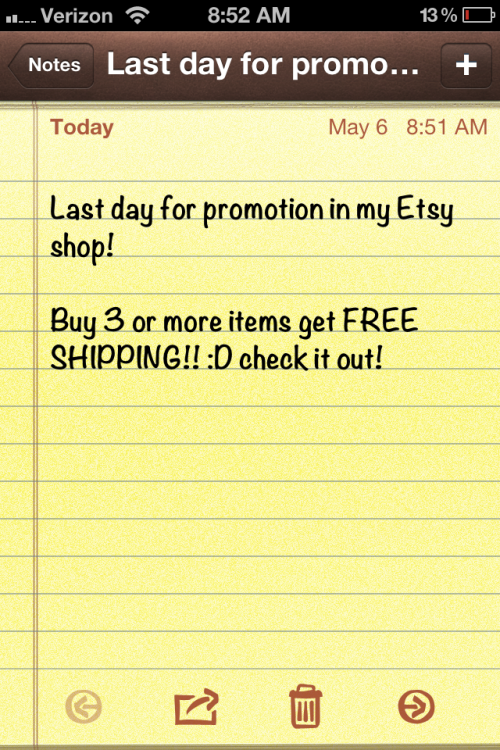 Last day everyone!  FREE SHIPPING with any purchase of 3 or more items!