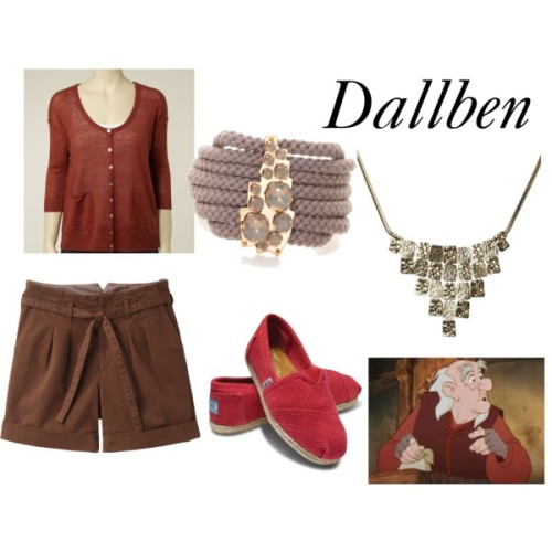 "Dallben from ""The Black Cauldron"" White Stuff cardigan, £45Tsumori Chisato cuffed shorts, $244TOMS flat heels, $54Sabrina Dehoff bracelet, €199Geometric jewelry, $17"