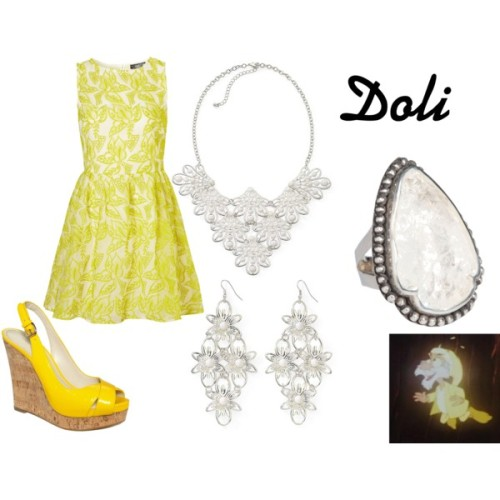 "Doli from ""The Black Cauldron"" Embroidered dress, $120Nine west wedge, $89Pamela Love quartz ring, $625Color craze white necklace, $12Color craze flower earrings, $8"