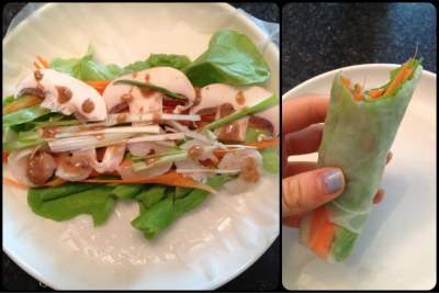 fitliv:  Made these for lunch with my mom! They had lettuce, carrot, mushroom, scallion, shrimp, and sesame-peanut sauce :) Btw, I had more than one! I made them as I went so never had multiple to photograph.