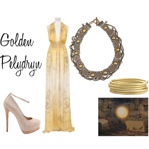 "Golden Pelydryn from ""The Black Cauldron"" Balmain ball gown, €3.215Steve Madden stiletto high heels, $110AllSaints layered necklace, $120Nordstrom jewelry, $38"