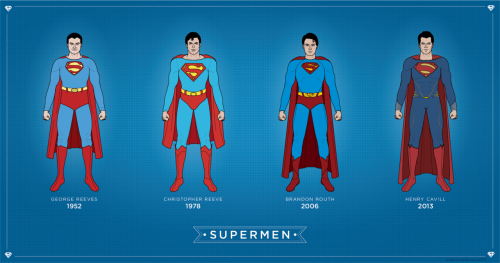 slovesdesign:  I made a timeline of some of Superman's costumes from George Reeve, to Henry Cavill from next year's Man of Steel.  My site: slov.es