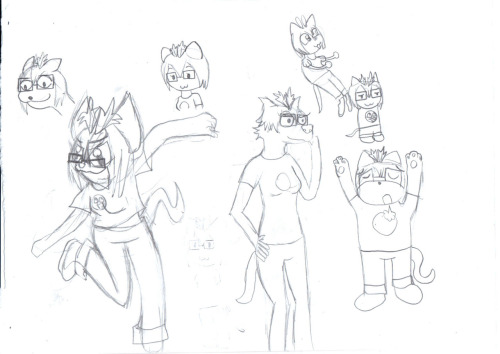 so I tried a bunch of various cartoony styles just for fun, nothing serious really. my test subject was my OC Derana hehe i kind of like that one all the way to the left (fullbody one) and the one above it, might try to do more like that some time even if some of these aren't that good, it was a fun exercise! seeing what works and what doesn't. (and i know i forgot her glasses on one of the pictures)