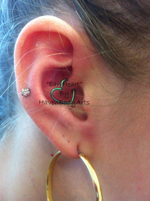 "Daith Piercing w/ ""Ear-Heart"" jewelry by Penelope Haven Body Arts Piercing & Tattoo 108 Main Street FL2 Northampton MA 01060 Phone: (1-413-584-6637)"