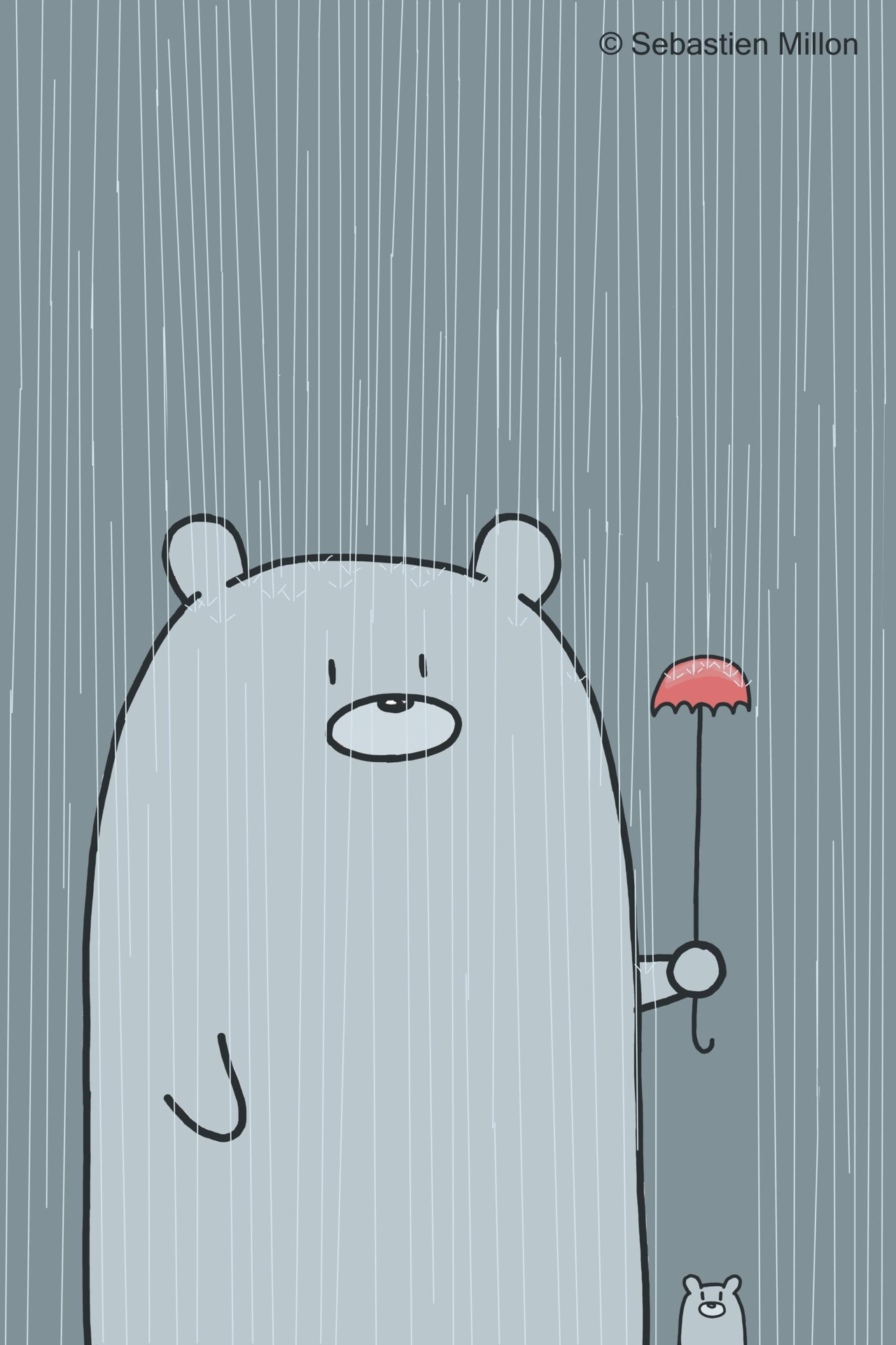Aww!  :3 Illustration by ©sebastienmillon:  Father holds a little umbrella to keep his son dry :)