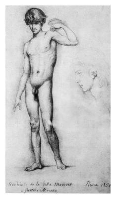 Gustave Moreau, Study of a nude model (1858).