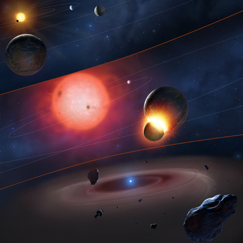 cozydark:  Four White Dwarf Stars Caught in the Act of Consuming 'Earth-Like' Exoplanets | University of Warwick astrophysicists have pinpointed four white dwarfs surrounded by dust from shattered planetary bodies which once bore striking similarities to the composition of Earth. Using the Hubble Space Telescope for the biggest survey to date of the chemical composition of the atmospheres of white dwarf stars, the researchers found that the most frequently occurring elements in the dust around these four white dwarfs were oxygen, magnesium, iron and silicon — the four elements that make up roughly 93 per cent of Earth. However an even more significant observation was that this material also contained an extremely low proportion of carbon, which matched very closely that of Earth and the other rocky planets orbiting closest to our own Sun. This is the first time that such low proportions of carbon have been measured in the atmospheres of white dwarf stars polluted by debris. Not only is this clear evidence that these stars once had at least one rocky exoplanet which they have now destroyed, the observations must also pinpoint the last phase of the death of these worlds. The atmosphere of a white dwarf is made up of hydrogen and/or helium, so any heavy elements that come into their atmosphere are dragged downwards to their core and out of sight within a matter of days by the dwarf's high gravity. Given this, the astronomers must literally be observing the final phase of the death of these worlds as the material rains down on the stars at rates of up to 1 million kilograms every second. continue reading