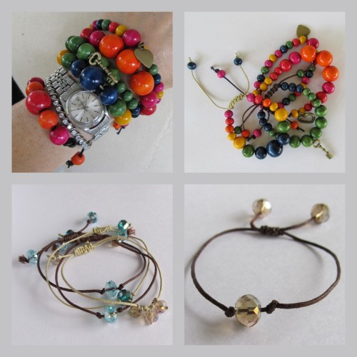 DIY Two Easy Bead and Crystal Bracelet Tutorials with a Clever Closure. Top Photos: Tutorial for Bead Bracelets by Wobisobi here, Bottom Photos: Tutorial for crystal bracelets by Wobisobi here. *You pull the cords through the square knots to snug up the bracelet on your wrist.If you have any questions about the closure, go to Ornamentea and watch their video here.