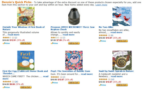 This is, apparently, what happens to your Amazon Quick Picks when you get married.