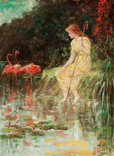 "Frederick Stuart Church (American, 1842-1924), ""Maiden with flamingos"""