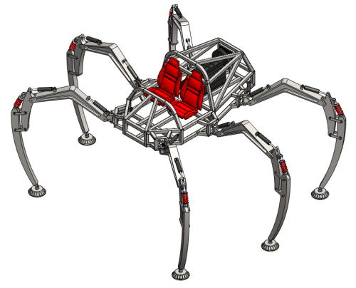 Project Hexapod - A group of students is developing the next best thing to a flying car: a walking car. Well over six feet tall, the six-legged open design looks like a cross-over between an Ariel Atom and Star Wars Imperial Walker. Given the name of the most recent design update, I can't wait to see this thing romping around the university parking-lot!  We came to a major decision this past week – the 2,500 pound, 135 horsepower, propane-fueled, hydraulically powered hexapod robot will be named… Stompy.