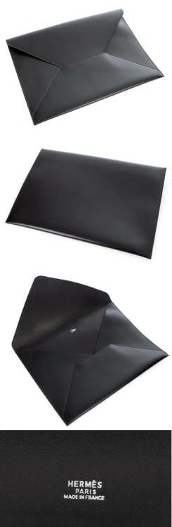 hermès black envelop briefcase in veau box