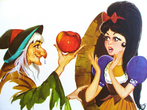 "fairytalemood:  ""Snow White"" vintage illustration   kind Elvira hair though, isnt it?"