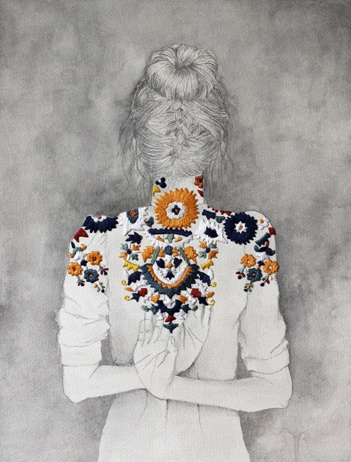 epcutler:  Embroidered drawing. How sweet.