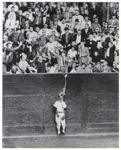 Famous Ray Gora photograph of the White Sox's Al Smith getting drenched by a falling beer, 1959, Chicago. Chicago Tribune Archives