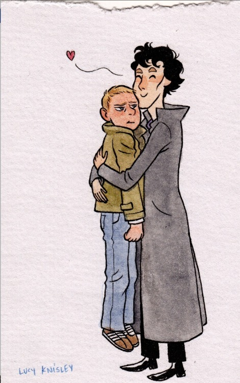 just-scarlett:  A Sherlock commission I got at TCAF Art by the amazing Lucy Knisley So much cute.