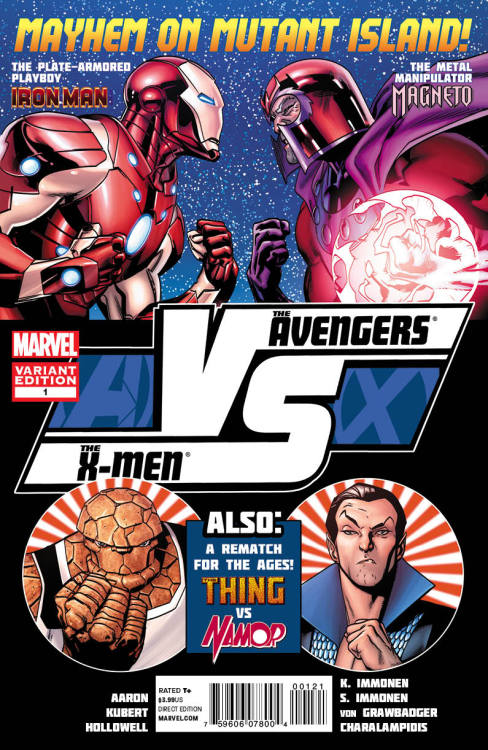 BOOK OF THE WEEK 4/25/12: Avengers Vs X-Men VS #1 If you're reading Marvel's Avengers Vs X-Men crossover event then you were sure to pick up AVX VS #1. This is the book in the series that's billed to be all action and it did not disappoint. In this issue we got to see the 1st round of Magneto vs Iron Man and the 1st round of Namor vs Thing & Luke Cage. The Magneto vs Iron Man scenes were the main focus as we saw both men look to outer space to provide them with leverage in the ensuing battle. We also saw Magneto have an epiphany, and realize that this battle might be bigger then all of them. He also seemed to realize that his daughter Wanda (Scarlet Witch) might be the key to saving everyone. As the series continues we're expected to see more battles unfold such as Gambit vs Captain America and Rogue vs She Hulk just to name a few. If the rest of the series is as good as the 1st issue then this might very well be the best event Marvel has ever done.
