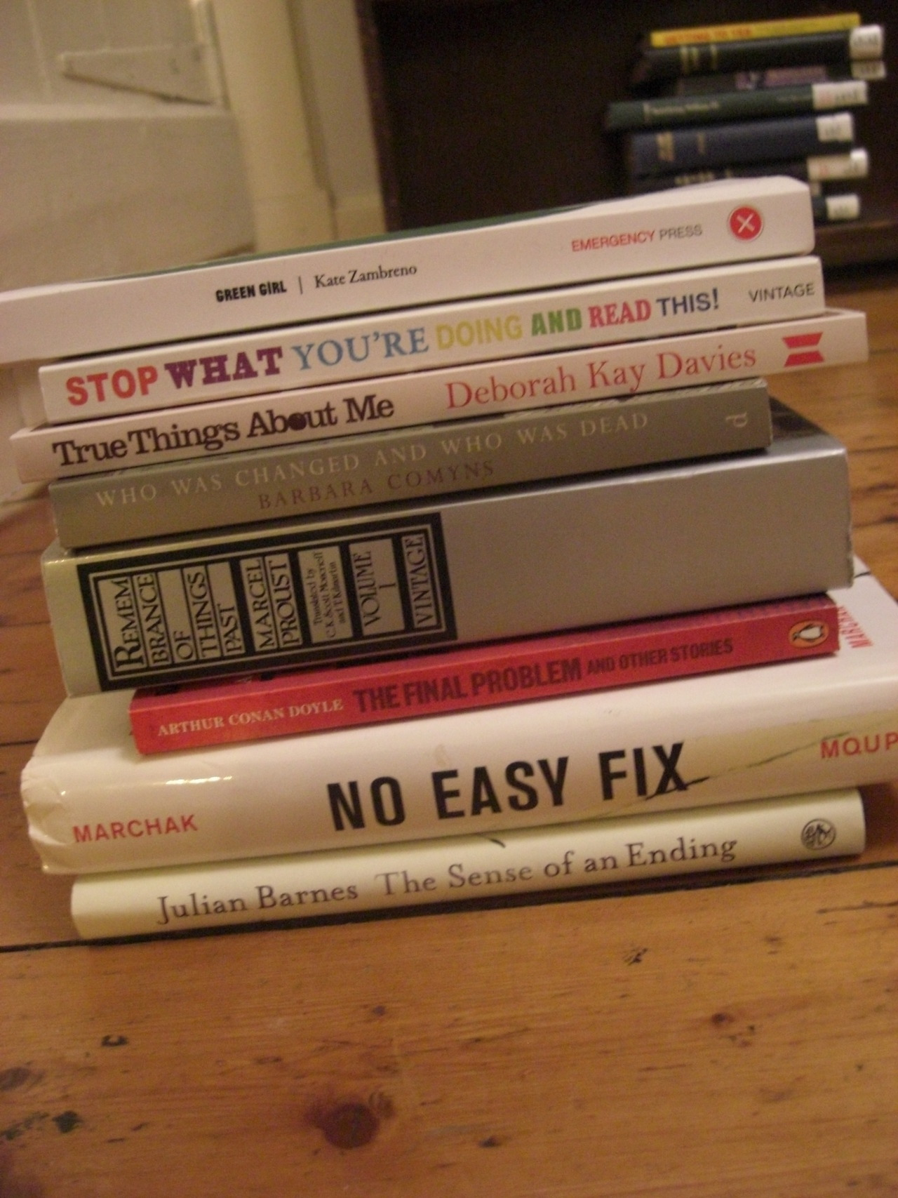 othernotebooksareavailable:  My go at a book spine poem - Green girl, Stop what you're doing and read this, True things about me, Who was changed and who was dead, Remembrance of things past, The final problem, No easy fix, The sense of an ending.