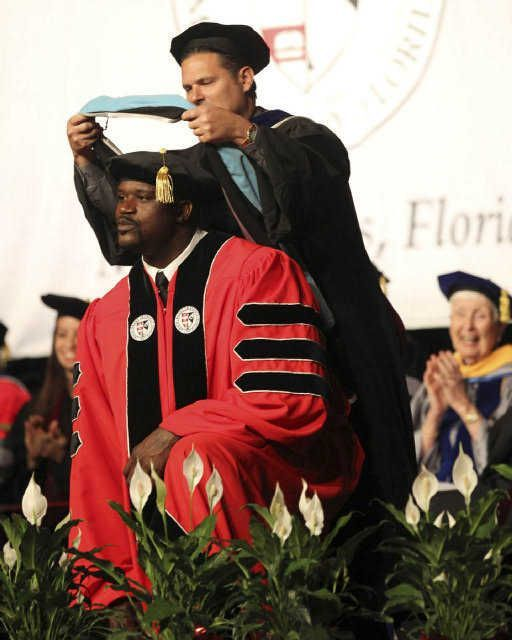 """Dr. SHAQ' receiving his Doctorate from Barry University. Get ready Chuck and Kenny, we won't hear the end of this."