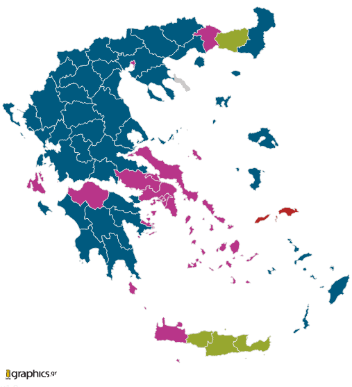 jakke:  If you feel the need to see Greek election results in realtime with some crisp interactive graphics (and who doesn't?) then check out this awesome display from igraphics. Look how well SYRIZA did in and around Athens! Note that votes are still being counted; the page will automatically update with new results.  Explain the Communists in Samos.  Kinda strange they are winning out on a tourist trap.