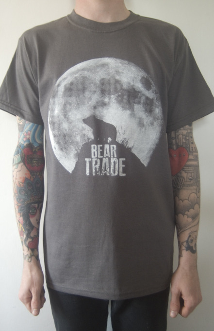 Bear Trade - One colour, white halftone print on charcoal shirts. Sick punk band, featuring members from a whole heap of other sick punk bands! Check them out here! Shirt design by Joe Watson (Vision Incision)