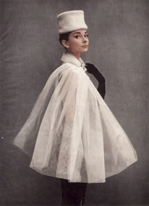 christopherniquet:  audrey hepburn in a stylish organza cape