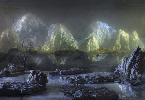 I've been loving these photos by Kim Keever for a while now. They remind me of those crystal growing kits I would get as a kid. I was completely enthralled with them. exhibition-ism:  The amazing underwater fish tank art of Kim Keever