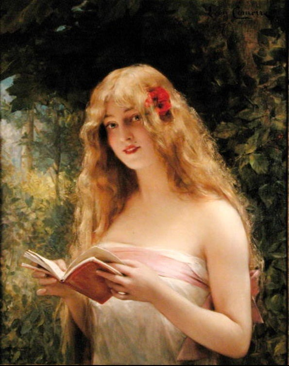 womenreading:  brainfullofcanvas:  La Belle Liseuse. Léon-François Comerre (1850-1916).   French. Oil on canvas. Mallett Gallery, London. Comerre was a French academic painter, famous for his portraits of beautiful women. Studied in Paris at the famous École Nationale Supérieure des Beaux-Arts in the studio of Alexandre Cabanel. There he came under the influence of orientalism.