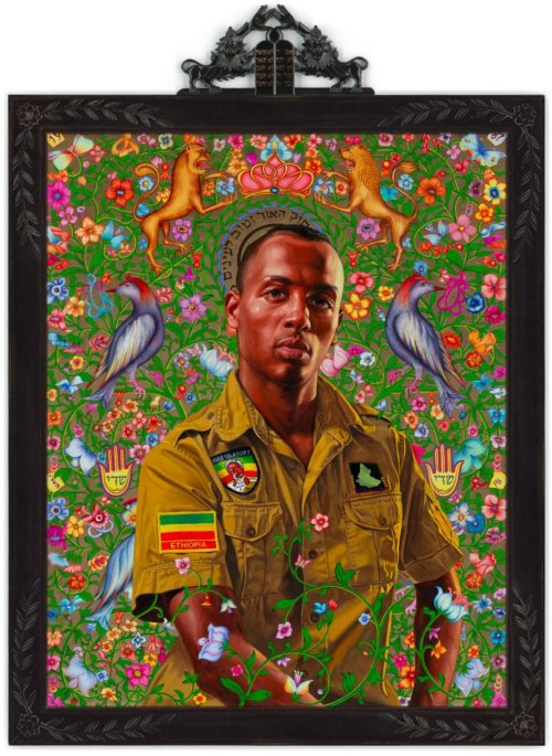 "Kehinde Wiley Kalkidan Mashasha, 2011Oil and gold enamel on canvas 45"" x 36"" http://topics.nytimes.com/topics/reference/timestopics/people/w/kehinde_wiley/index.html ""Their silken running suits, carefully creased jeans and bling reflected the sartorial codes of hip-hop, but their poses and props (thrones, scepters, rearing horses, religious attributes) were lifted from the portraits of Velázquez, David and Gainsborough or Renaissance images of saints. The substitution of black for white faces and low for high culture created all kinds of mind-bending twists and turns, especially since Mr. Wiley, who is gay, often brought out the homoeroticism implicit in much European portraiture and used it to undercut the machismo bluster of his subjects."""