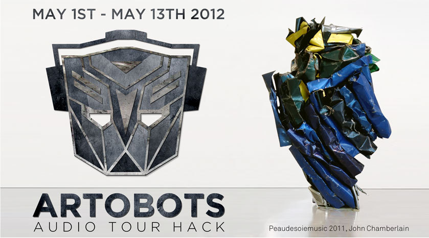 nycartscene:  thru May 13:ARTOBOTSJohn Chamberlain audio tour hack @ Guggenheim [LINK]Artobots is an unofficial audio tour that literally transforms John Chamberlian's exhibition at the Guggenheim museum into a fictional commemorative art show created by the Decepticons to celebrate their victory over the Autobots.  Prime reason for being interested in the show. If only it had come out a week earlier… and if I've taken the time to see Michael Bay's prior masterworks. (Perhaps it is sufficient even without having taken the survey course.) But is it institutional critique?