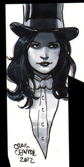 Zatanna head-sketch for The Happy Sorceress in her copy of The Vitruvian Underground. A free head-sketch is available with purchase of the first issue here (for only 5 more people): http://clubchevon.bigcartel.com/ And you can read a good chunk of the book here: http://www.vitruvianunderground.com/index/webcomic.html  Only $3!