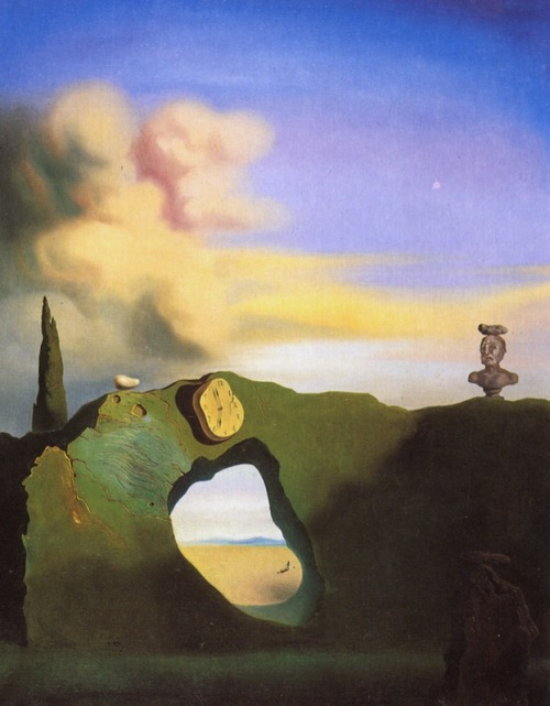 surrealism:  Sunday Dalí: The Triangular Hour, 1933. Oil on canvas, 61 x 46 cm. From Dalí-Gallery:  The watch is mounted on a rock formation as if hung on a kitchen wall. Underneath is a hole in the rock through which we see an Ampordan plain, where the figure of a child with a hoop can be seen. At the top of the rock formation is the bust of a Classical man, his face in a grimace. Dalí has placed rocks on top of the bust, as well as on top of the rock formation and on the other rock in the shadowy foreground. One interpretation of this painting is that Dalí is viewing mankind and time as governed by the solidity of nature.  I certainly see the shape of the bust reflected in the yellowish cloud. The rock that is across the head of the bust is a theme that reoccurs in Retrospective Bust of a Woman from the same year.