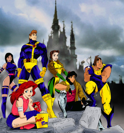 "Disney's X-Men by Wingzero620 His gallery ""From left to right: Mulan as Psylocke, Ariel as Jubilee, Hercules as Cyclops, Belle as Rogue, Aladdin as Gambit, and Pacha as Wolverine."""
