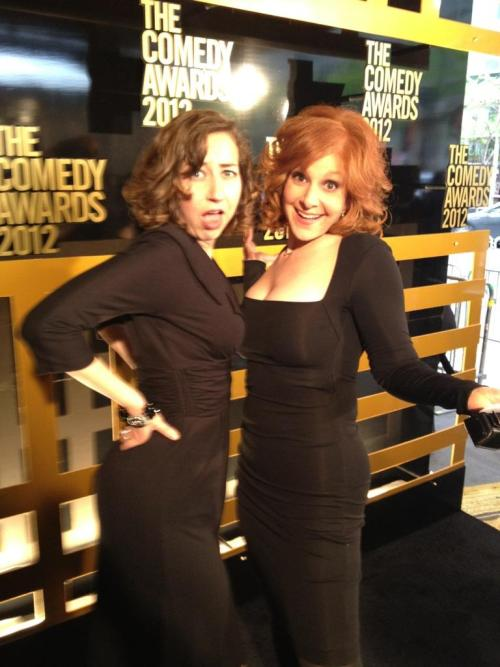 julieklausner:  Kristen Schaal and I touch boobs on the red carpet. It's cool.