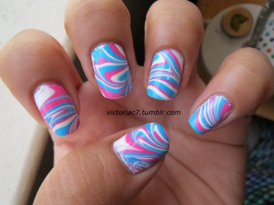 "My quick ""cotton candy"" water marble! Colors used:  Zoya - Robyn, Jolene Wet N' Wild - French White"