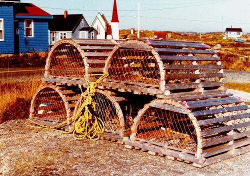 #YHZ #Halifax #lobster #NS Traditional lobster traps near Peggy's Cove, Nova Scotia. Vacation, October 1980.