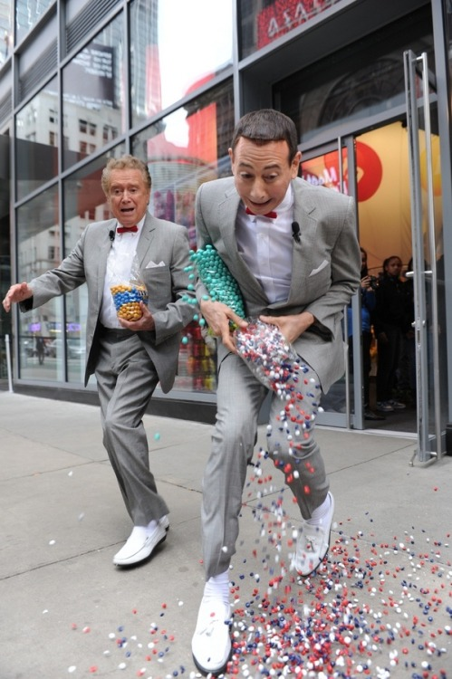 PeeWee Herman and Regis Philbin robbing a candy store in NYC— October 14, 2010.