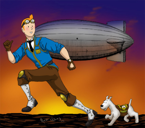 morgicorgi:  jesidres:  Steampunk Tintin and Snowy, off on another adventure.  Inspired by the old Herge illos from Tintin magazine of the history of different transportation.  While I like the idea of 'TinPunk', as someone dubbed it, I didn't like the static pose of the last picture (also, I was forever annoyed by the muck up of his neck). I swear I can draw other things besides steampunk and Tintin…  Oh Snowy has a clock on him….    I love my friends.