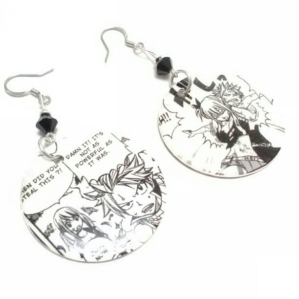 Here are two custom orders that I've done that is from the manga Fairy Tail.  The first pair features NaLu.  The other pair features Juvia.  I personally like the NaLu earrings more since I think they look cute together <3   Want something similar like the ones from above? We have the listing here! http://www.etsy.com/listing/88852810/custom-order-earrings-character-or-photo