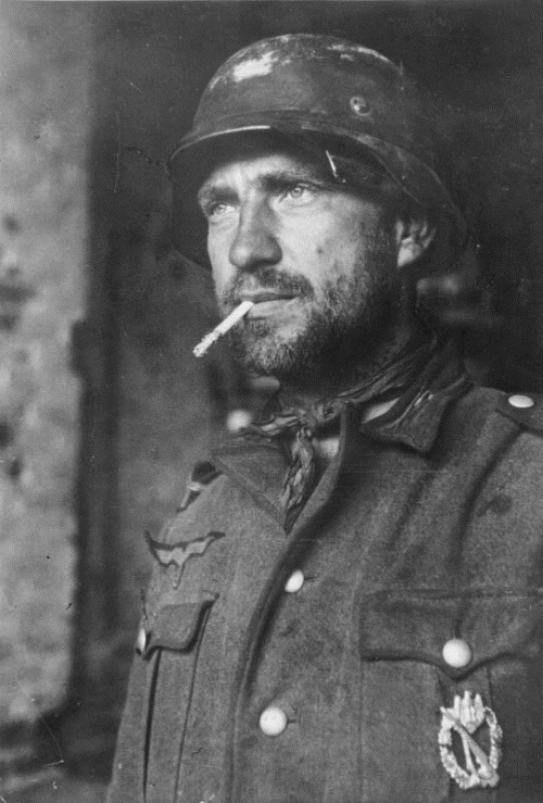 A German soldier at the Battle of Stalingrad, 1942.