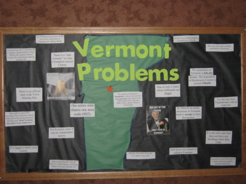 vermontproblems:  Vermont Problem: You live with an RA, who delegates her bulletin board duties to you…leading to this masterpiece.