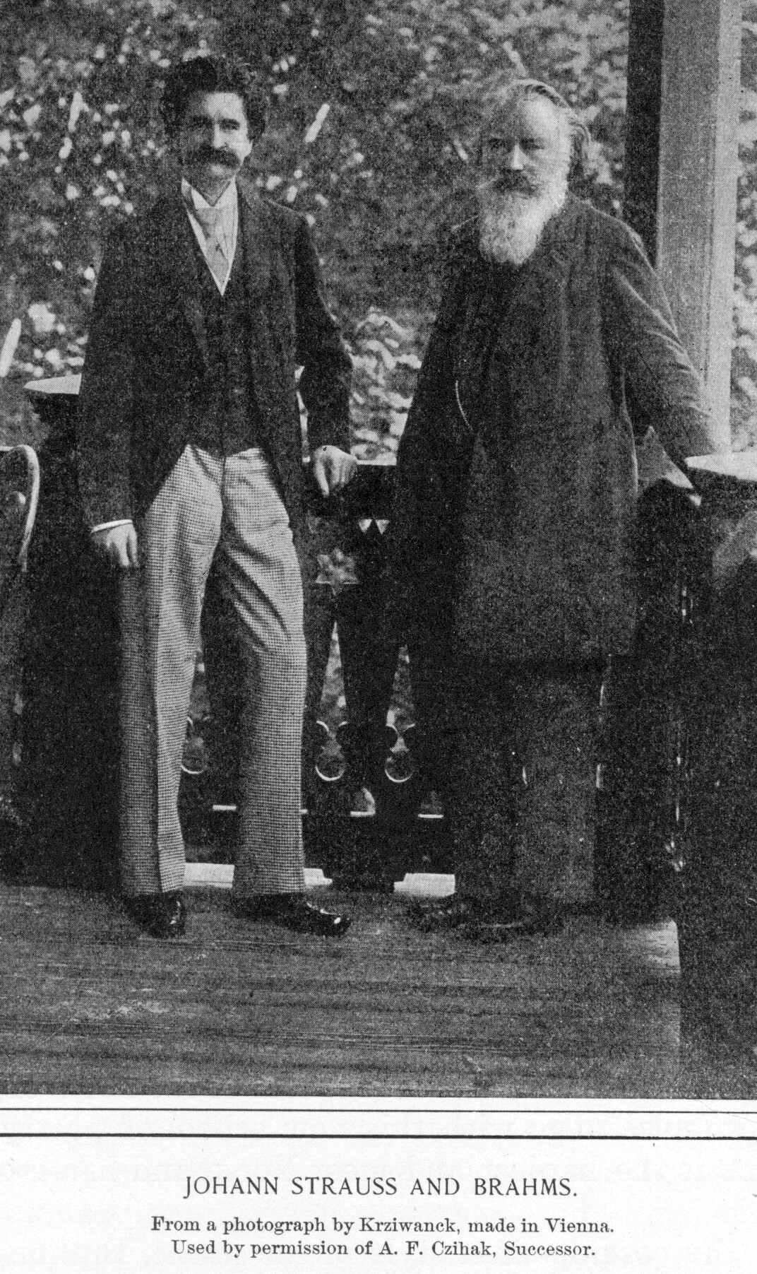 "leadingtone:  Brahms photographed with Johann Strauss, Sohn in Vienna. Once, to a female friend, Brahms inscribed on a napkin a few bars of the first strain of ""On the Beautiful Blue Danube"" with the lament ""Alas, not by Brahms!""  Strauss was eight years older than Brahms, though here he shows his age much the less."